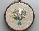 Farmers Market Bouquet No 1 - Mothers Day, Wildflower Embroidery, Anniversary, Embroidered Flowers, Gifts Under 50, Floral, Farmhouse Decor