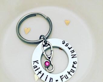 Personalized Nurse Keychain // Nursing Student Keychain // Hand Stamped Key Chain // Nurse Personalized Keychain // Nursing Graduation Gift