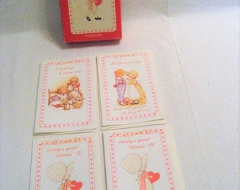 4 Holly Hobbie Valentine Day Cards with Envelopes and Box Vintage 1970s Unused