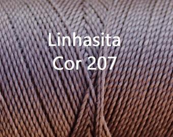 Linhasita Taupe Cor 207, Waxed Polyester Macrame Cord / String / Hilo