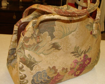 VINTAGE CARA PURSE tapestry bag upholstery clamshell