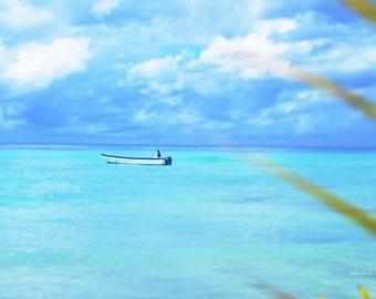A Lone Sailor - Isla Saona - Dominican Republic Beach Print - 8x12