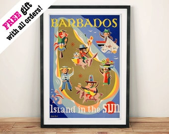 BARBADOS TOURISM POSTER: Vintage Island in the Sun Art Print