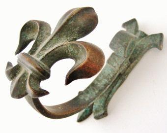 Antique French bronze fleur de lis coat hook