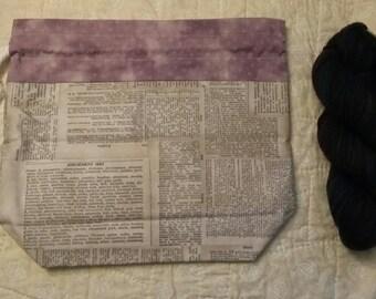 Drawstring bag, lavender bag, newsprint drawstring bag, knitting project bag, newspaper lunch bag, tote, fully lined, beige lining