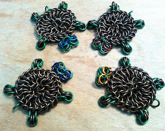Custom made chainmaille turtle sculpture in 3 different sizes!