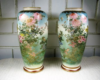 Antique marked Japanese Satsuma PAIR of six sided vases 9.5'' tall
