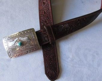 Vintage TONY LAMA BELT Navajo  Spirit  & Silver Buckle Turquoise Hand tooled Leather