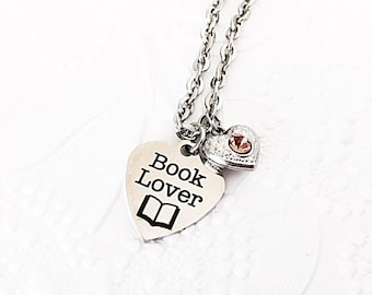 Book Lover Gift - Book Jewelry - Bookworm Gift - Stainless Steel - Book Charm - Teacher Gift - Book Necklace - Gift for Librarians