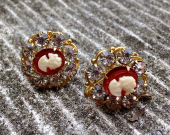 Crystal and Cameo Earrings