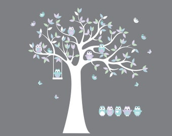 tree wall decal / vinyl wall decal / tree branch decal / nursery wall decal / owl tree decal / vinyl wall decal / vinyl wall stickers