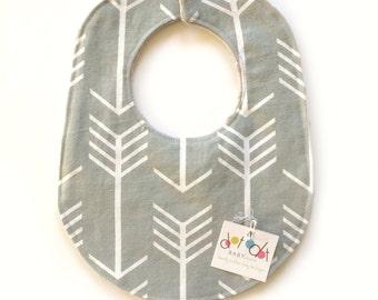 Gray Arrows -  Baby Boy Girl Gender Neutral Unisex Drool Woodland Bib with cotton + gray dot minky velcro