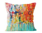 Jellyfish Orange And Teal Throw Pillow - Abstract Expressionist Decorative Pillow Designed By Louise Mead Available In Two Sizes