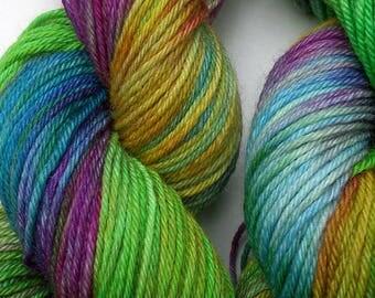 Hand dyed DK 100g merino/ tussah silk yarn Tom's magic paws