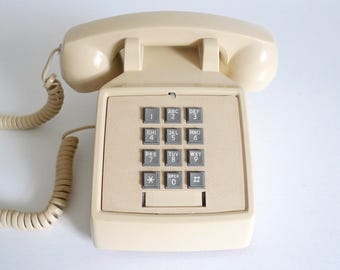 Vintage Push Button Phone - Beige GTE Telephone with Grey Buttons