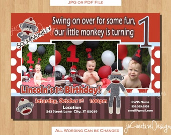 sock monkey invitation Sock Monkey birthday invitation sock monkey 1st birthday invitation sockmonkey Boy 1st birthday invitations photo pic