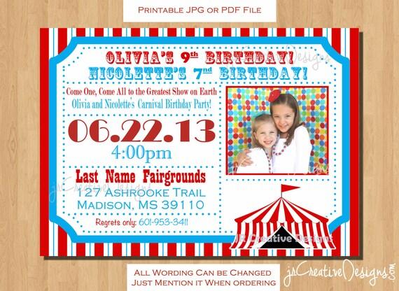 Carnival invitation circus invite circus invitation carnival invite il570xn filmwisefo