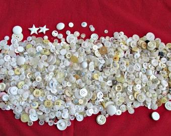 One Pound Plus Lot Mixed White Vintage Buttons MOP Plastic Celuloid Upcycle Destash