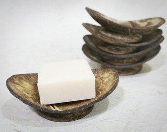 Set of 5 Ellipse Coconut Shell Soap Dishes
