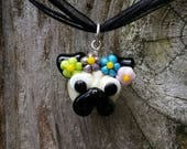 Pug with Flower Crown - Glass Pendant