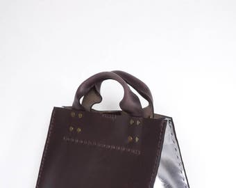 Cabas - Market Tote - Oil Tanned Brown and Silver