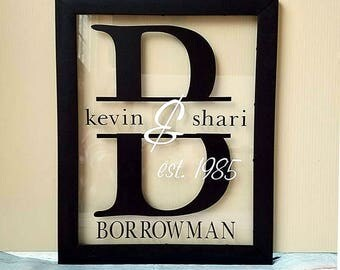 Personalized frame - Wedding frame - Last name sign - Established family sign - Frame gift - Custom Initial frame - anniversary gift