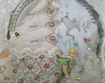 Tinkerbells Fairy Garden Handmade Purse OOAK Crazy Quilted Art Purse Flowers and Frogs Crystals Vintage Buttons and Hankie Corner Tea Purse