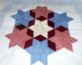 Quilt Blocks, 10 Sampler Blocks, Hand Quilted Squares, Blue and Red Quilt Blocks