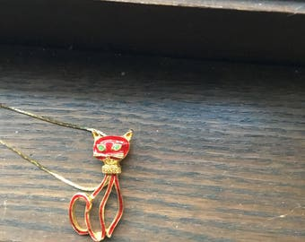 Gold and enamel  red cat necklace