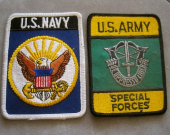 U.S. Navy Patches U.S. Army Patch CHOICE of 1 Special Forces Embroidered Iron On Large Size Vintage Supplies Accessories