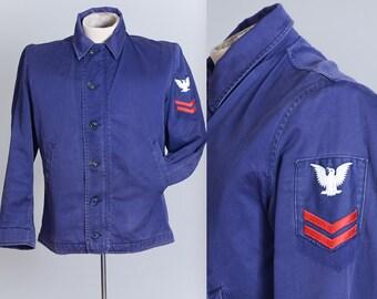 1960s USN Deck Utility Jacket Navy Blue Cotton Sateen Jacket
