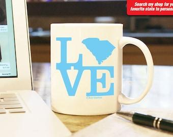 South Carolina Sc Coffee Mug Cup Love Wedding Anniversary Valentine Gift Present W Custom Color