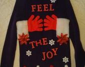 debs women's ugly christmas sweater unisex purple feel the joy s med gloves