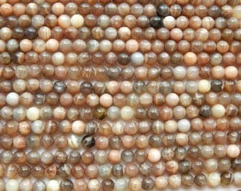 8mm Multicolor Natural Moonstone Round Polished Semi Precious Beads, Half Strand (IND2C71)