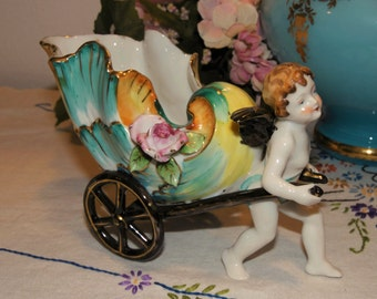 Fabulous porcelain Cherub Angel pulling ornate shell on cart - 50s - Noritake - Occupied Japan - shabby - french - planter - candy dish