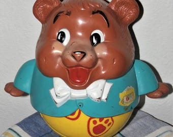 1969 Fisher Price Chubby Cub roly poly musical chimes vintage toy - bear cub