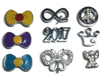 Slide Charms - Fit 8mm Wristbands - Bow Charms - Butterfly Charm - Infinite Faith Charm - Crown Carm - Angel Charm - 2017 Slide Charm