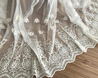Vinatge style beige tulle lace fabric in beige with cotton thread flroal embroidery , home decor curtain fabric lace, wedding gown lace