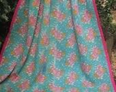 Aqua/pink kantha Kantha ,Sari throw, Sari Blanket, Kantha Blanket,  Kantha Throw, Indian Quilt, Coverlet, Ralli Quilt,Kantha