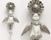 mixed media Angel, assemblage art, Guardian Angel, angel ornament, altered art doll by Elizabeth Rosen