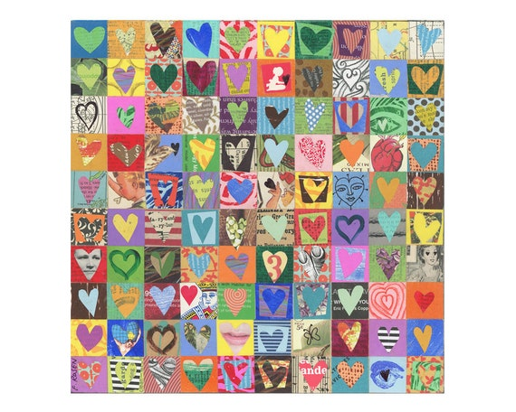 100 HEARTS, mixed media assemblage, original collage on wood, love art, ORIGINAL art by Elizabeth Rosen