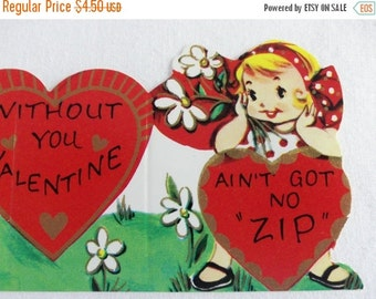 Special Sale Vintage Valentine 1950's Childrens Made in USA Boy Girl Ain't Got No Zip Unused