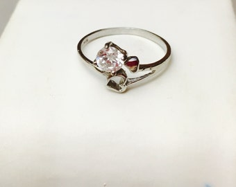 Promise Ring Size 7., Clear C Z Sterling Silver, Stamped .925, Clearance SALE, Item No. S416