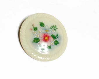 Avon Porcelain Brooch, Round, Painted Flowers, Vintage Collectors Brooch, Spring SPECIAL, Item No. B224