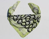 Westwood PuNk Scarf - SQUIGGLE-Bow Wow Wow Print-lime green plaid Fabric - Pirate Punk satin fabric -vintage scarves-pattern-pocket square