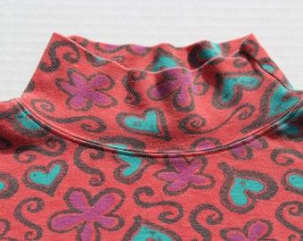 Vintage turtle Neck - polo neck- kitsch heart Long Sleeve Top cotton turtle neck grunge-festive- novelty pattern- loose fit slouchy