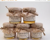 SALE 15% off 1 mini 2 oz. mason jar with champagne fabric and lace and a twine bow with a label! Perfect for a fall wedding!