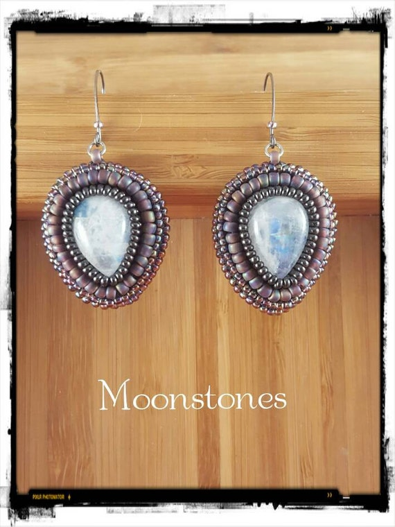 Purple Teardrop Moonstone Earrings, Bead Embroidered, Foxxy Jewelry from CynthiaFoxDesign