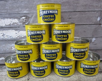 Vintage Honeymoon Coffee Can Yellow Blue White Honey Moon Chicory Coffee Tin New Orleans Louisiana Retro Original NOS New Old Stock vtg Can