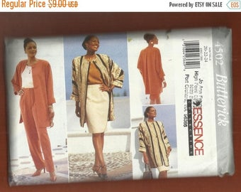 15% OFF SPRING SALE Butterick 4502 Oversized Jacket Shell Top Pencil Skirt and Tapered Pants Sizes 20-22-24 Uncut